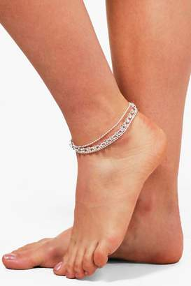 boohoo Diamante Layered Anklet