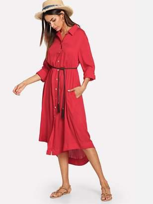 f11c3e1fc15c Shein Sold Curved Hem Shirt Dress