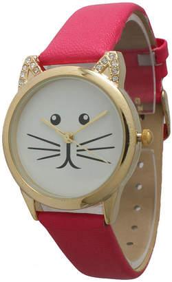 OLIVIA PRATT Olivia Pratt Womens Gold-Tone White With Black Cat Face Dial Hot Pink Leather Strap Watch 13586L