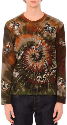 Valentino Butterfly-Embroidered Long-Sleeve Tie-Dye T-Shirt, Green Multi