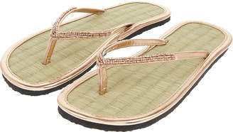 31f618785456 Accessorize Rose Gold Beaded Seagrass Flip Flops