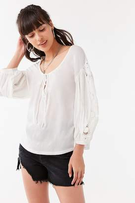 Urban Outfitters Belle Crochet Peasant Top