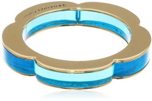 "Juicy Couture Malibu Girl"" Skinny Lucite Neon Blue Bangle Bracelet, 3.25"""