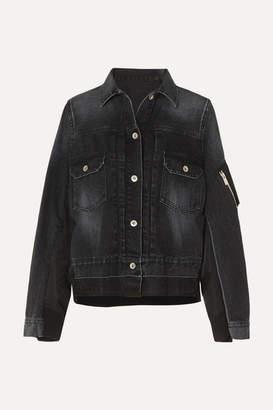 Sacai Paneled Denim And Shell Jacket - Black