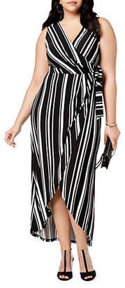 INC International Concepts Plus Striped Sleeveless Wrap Dress