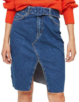Topshop Belted Denim Midi Skirt