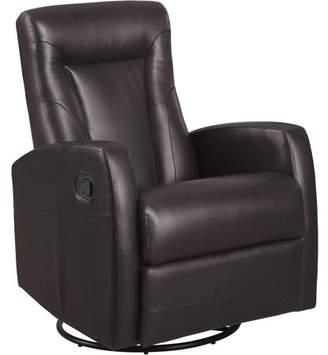 Monarch Specialties Monarch Recliner Swivel Rocker / Dark Brown Bonded Leather