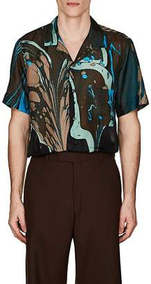 Dries Van Noten Men's Swirl-Print Silk Bowling Shirt