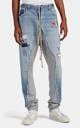Greg Lauren Men's Denim & French Terry Slim Jeans - Blue