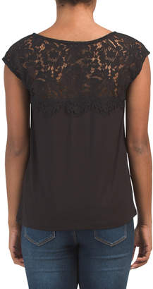 Made In Usa Scalloped Lace Yoke Top