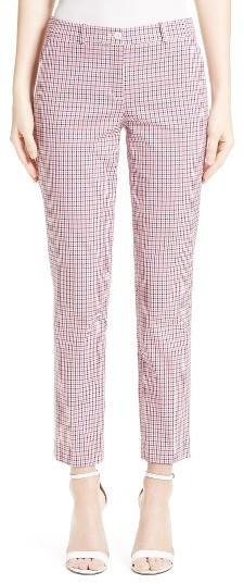 Women's Michael Kors Samantha Check Stretch Cotton Pants
