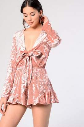 Glamorous Petites Womens **Velvet Tie Playsuit by Petite