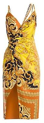 Versace Women's Femme Baroque Printed Silk Wrap Dress