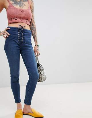 Free People High Waisted Lace Up Jeggings