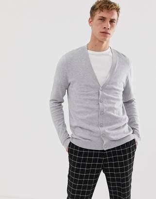 Asos Design DESIGN cotton cardigan in grey