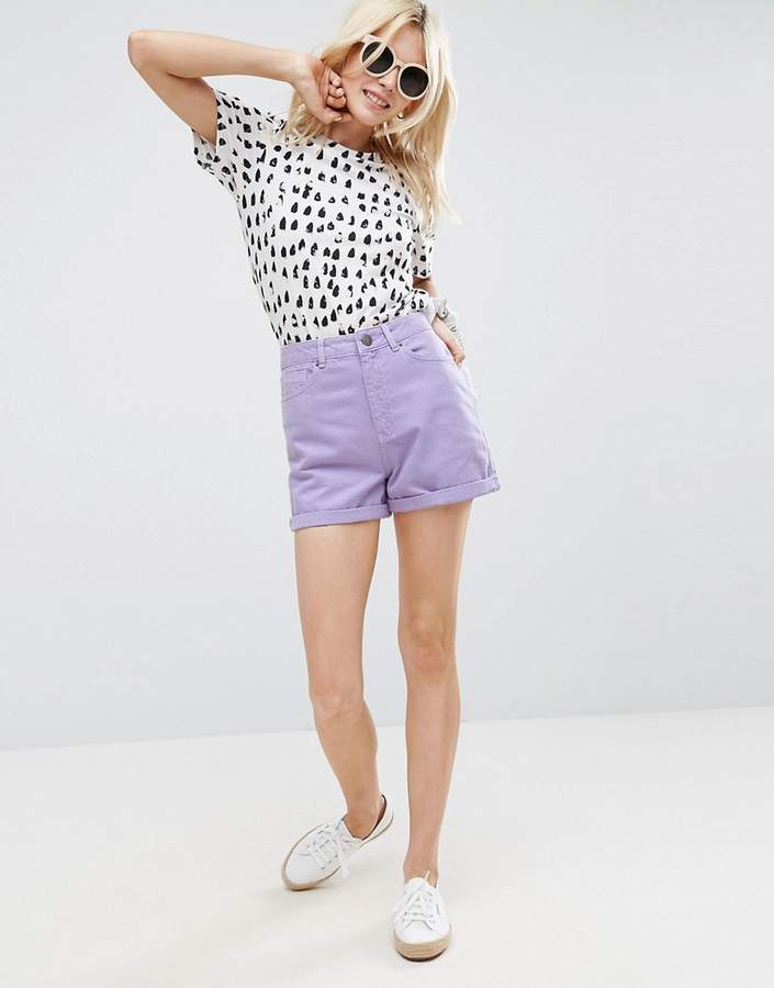 – Jeans-Mom-Shorts in Lila