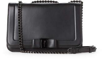 Salvatore Ferragamo Black Vara Bow Flap Leather Crossbody