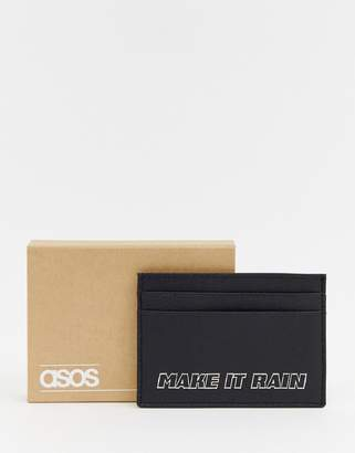 Asos DESIGN leather card holder in black with slogan detail