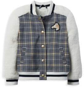 Janie and Jack Little Girl's& Girl's Faux Shearling Plaid Bomber