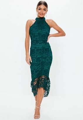 Missguided Teal High Neck Lace Midi Dress
