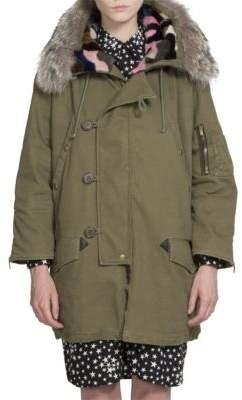 Saint Laurent Army Fur-Trim Parka