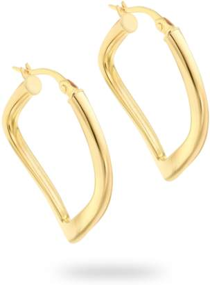 aa39979f9 9ct Yellow Gold Thin Square Wavy Creole Earrings