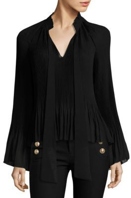 Derek Lam 10 Crosby Neck-Tie Pleated Blouse $395 thestylecure.com