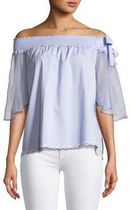 Elie Tahari Diana Off-the-Shoulder Bow Blouse