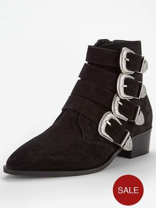Very Florence Real Suede Western Buckle Strap Ankle Boot -Tan