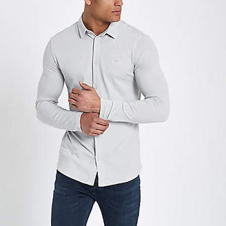 River Island Grey pique muscle fit long sleeve shirt
