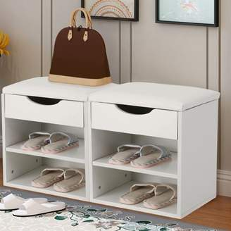 Shoe Organizer Wooden Bench, Estink Home Entryway Hallway Shoe Wooden Bench Padded Seat with Storage Cabinet(White)