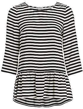 Akris Punto Women's Striped Silk Peplum Blouse