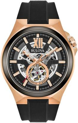 Bulova Analog Open Dial Silicone Strap Watch