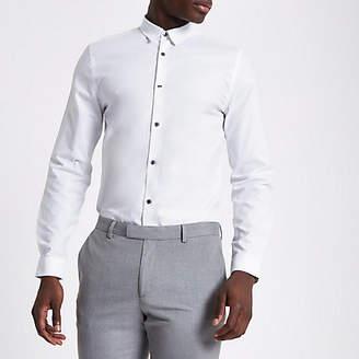 River Island White jacquard check slim long sleeve shirt
