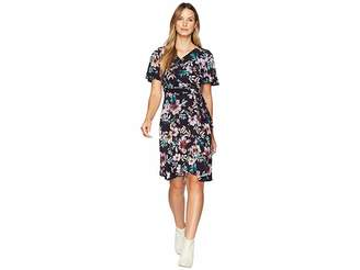 Donna Morgan Floral Jersey Wrap Dress with Flutter Sleeve