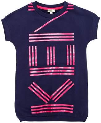Kenzo Logo Printed Cotton Sweatshirt Dress
