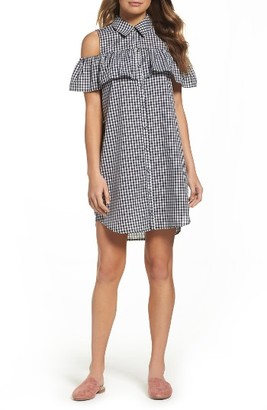 Women's Charles Henry Woven Gingham Shirtdress $92 thestylecure.com