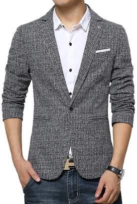 Vividda Slim Fit Casual Cotton Men's Jacket Blazer Business Suit Short Coat S M L X-Small
