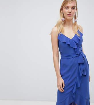 0a30db70b800 Oasis Cami Frill Front Wrap Midi Dress