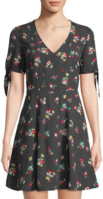 19 Cooper Floral-Print Tie-Sleeve Sundress, Black