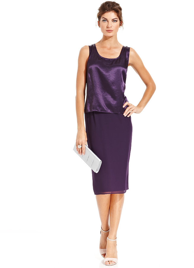 Le Bos Evening Suit, Stand-Collar Jacket, Shell & Pencil Skirt