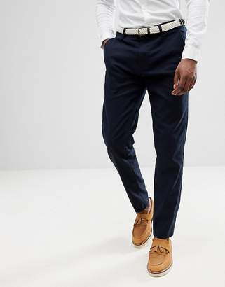 Esprit Linen Blend Chino In Navy