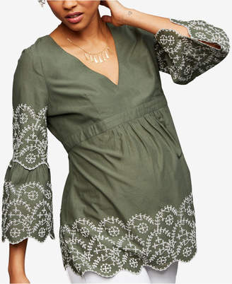 A Pea in the Pod Maternity Embroidered Babydoll Blouse