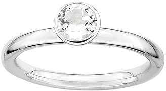 JCPenney FINE JEWELRY Personally Stackable Genuine White Topaz Sterling Silver Stackable Ring