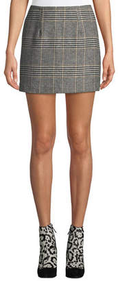 Astr Raye Plaid Wool-Blend Mini Skirt
