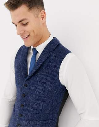 Asos Design DESIGN wedding slim suit vest in 100% wool Harris Tweed in navy twill