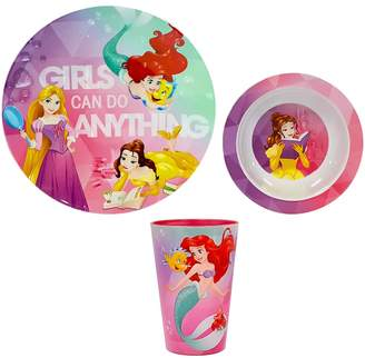 "Princess Girls Disneyjumping Beans Disney Princess ""Girls Can Do Anything"" 3-pc. Kid's Dinnerware Set by Jumping Beans"