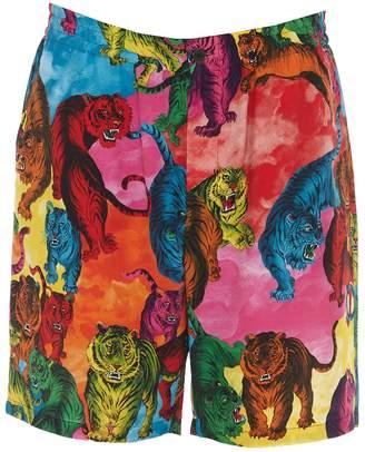 Valentino saturated tiger print crepe shorts