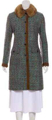 Dolce & Gabbana Fur-Trimmed Tweed Coat