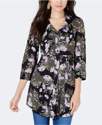 Style&Co. Style & Co Petite Printed Mesh Shirt